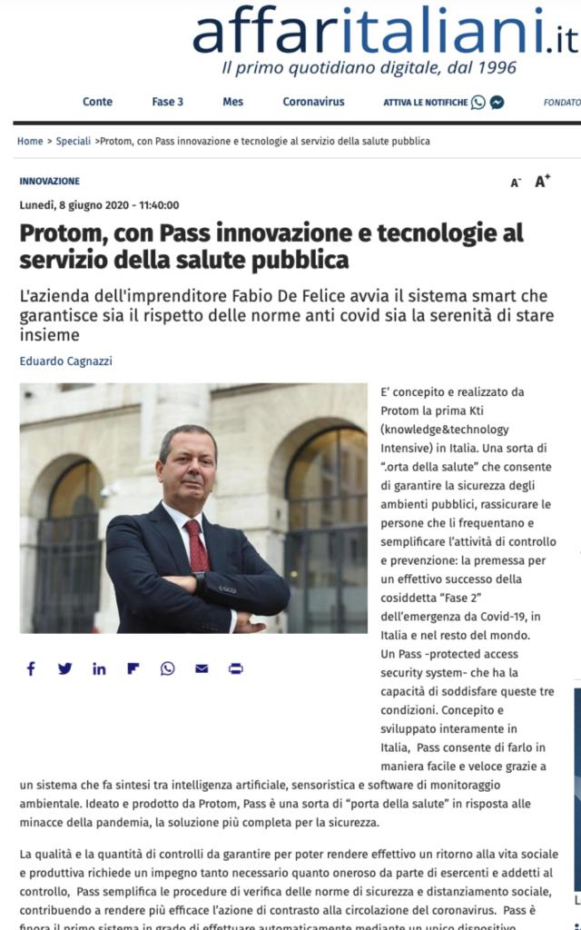 Protom, con Pass Innovazione e tecnologia al servizio della salute pubblica