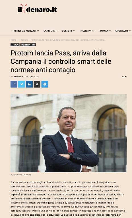 Protom lancia Pass, arriva dalla Campania il controllo smart delle norme anti contagio