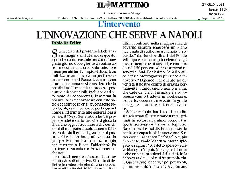 Il Mattino – L'innovazione che serve a Napoli
