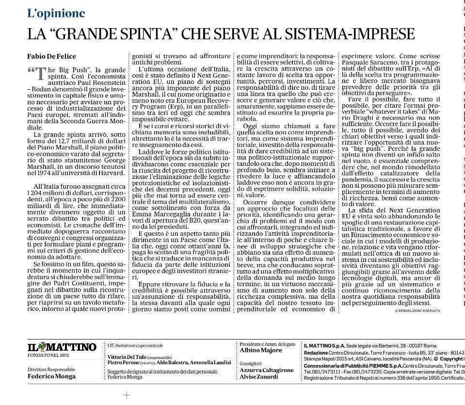 """Il Mattino – """"La grande spinta"""" che serve al sistema imprese"""